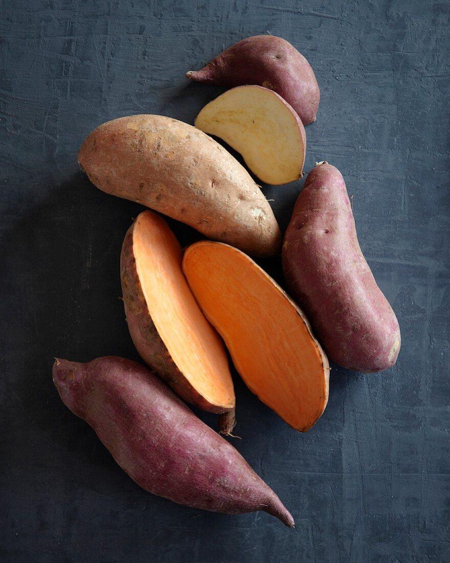 Several sweet potatoes
