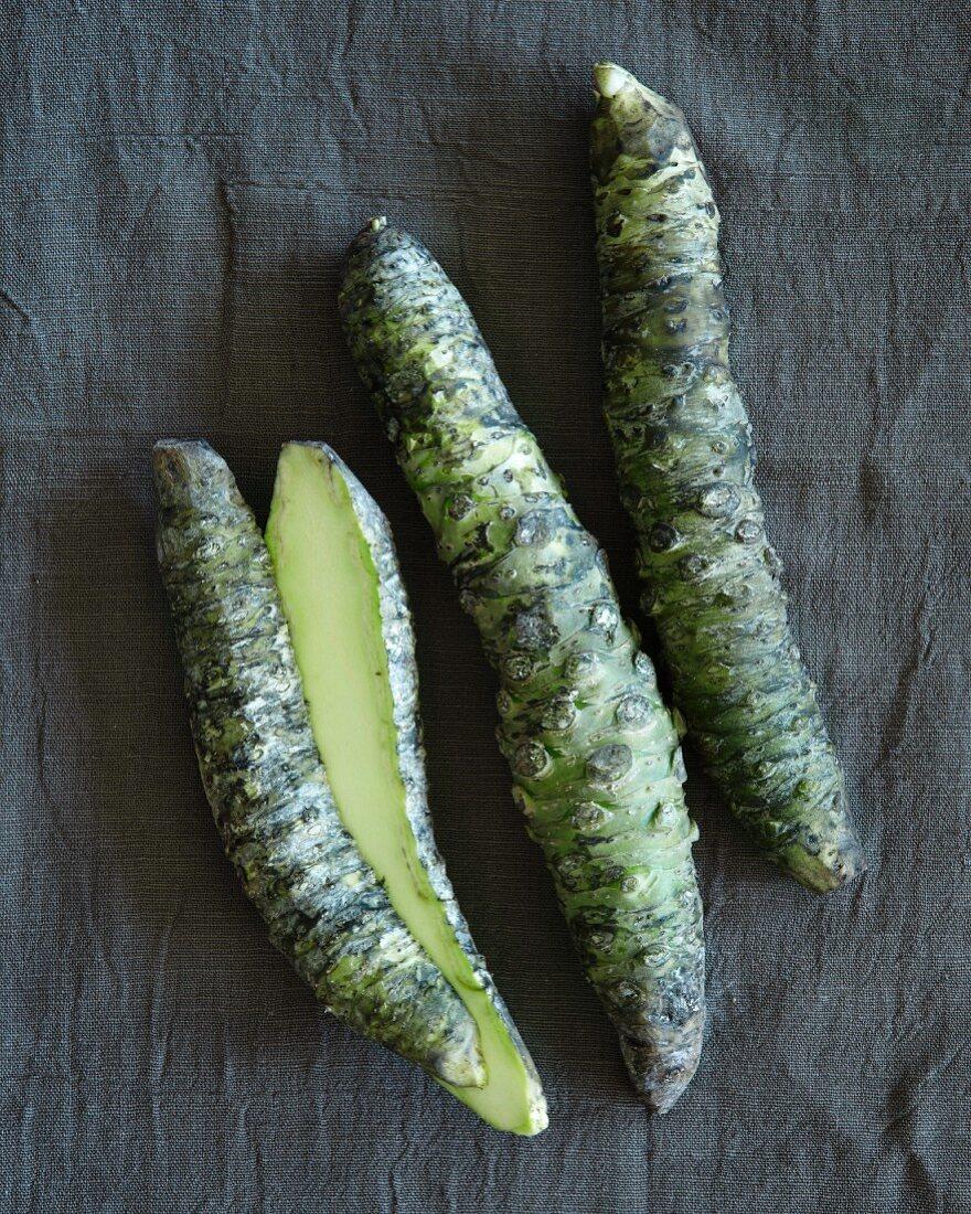 Three wasabi roots