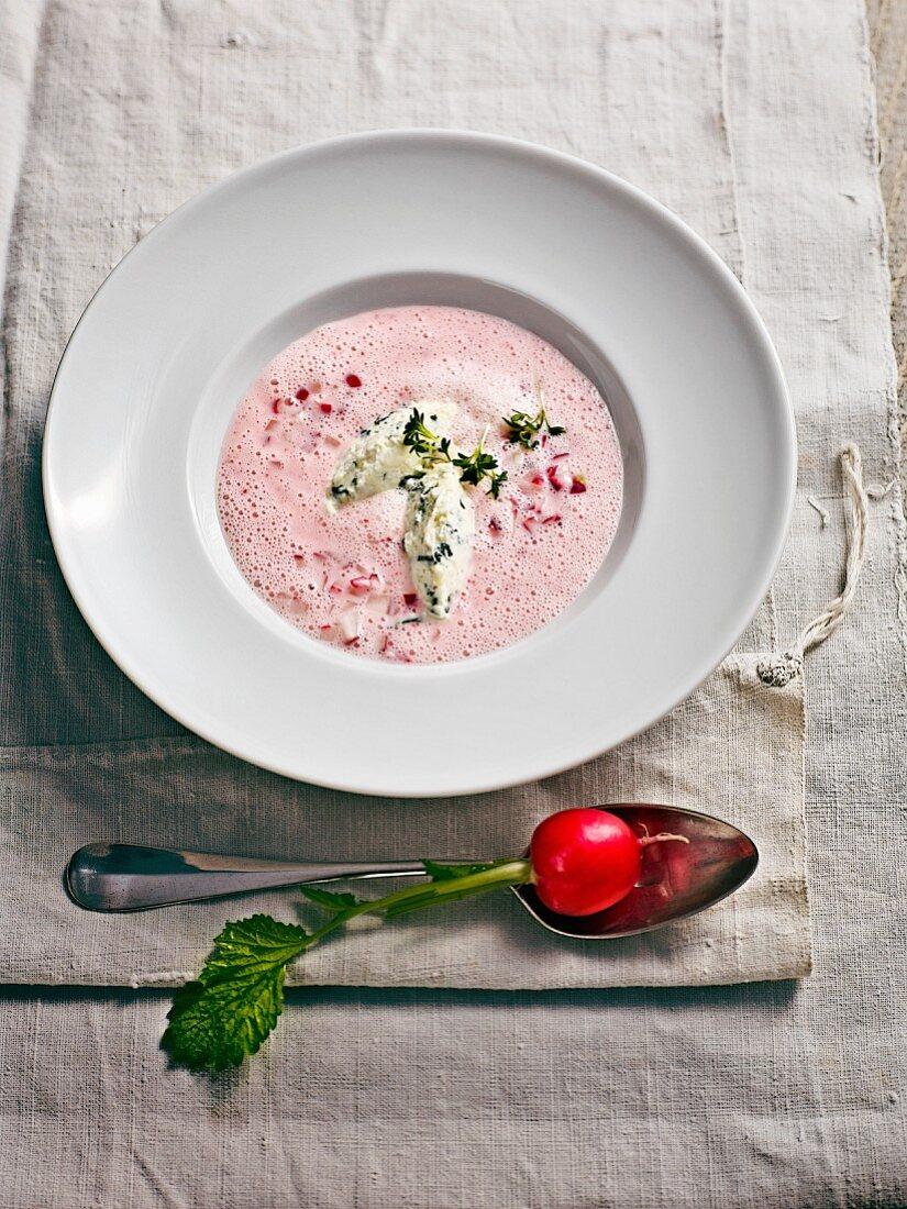 Bavarian radish soup with Alpine cheese dumplings
