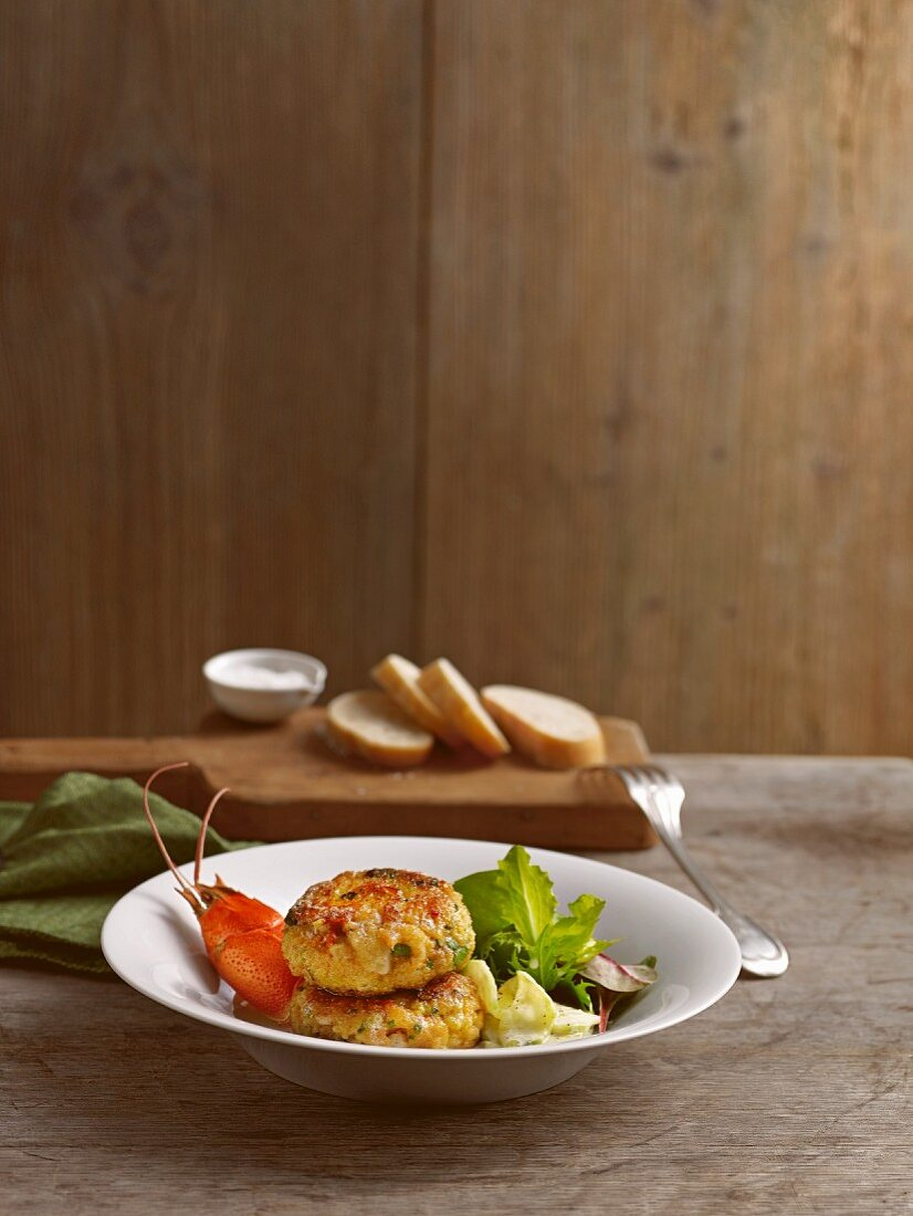 Bavarian pike-perch and crab cakes