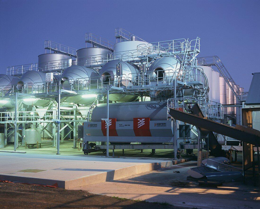 Industrial wine tanks in evening light, Rosemount, Australia
