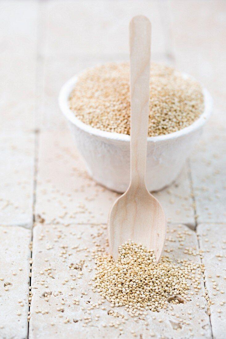 Quinoa in a white bowl