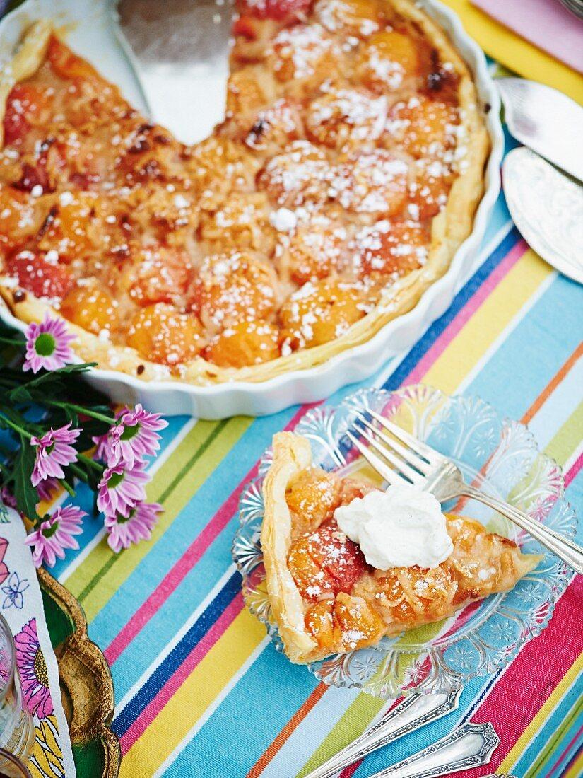 Apricot tart with marzipan