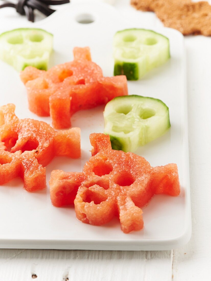 Watermelon and cucumber skulls for Halloween