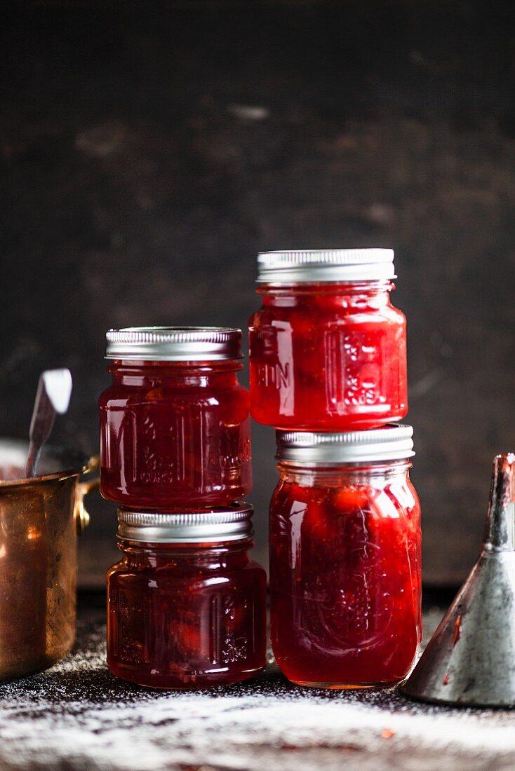 Strawberry jam in screw-top jars
