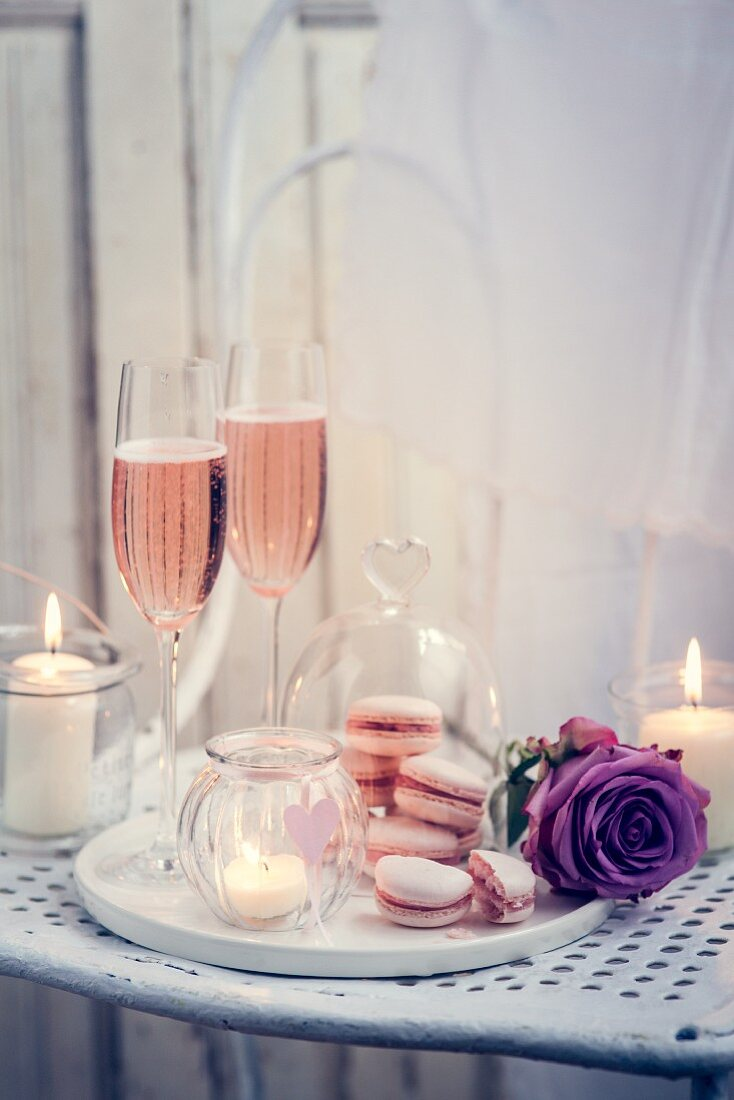 Roses, macarons and sparkling wine for Valentine's Day
