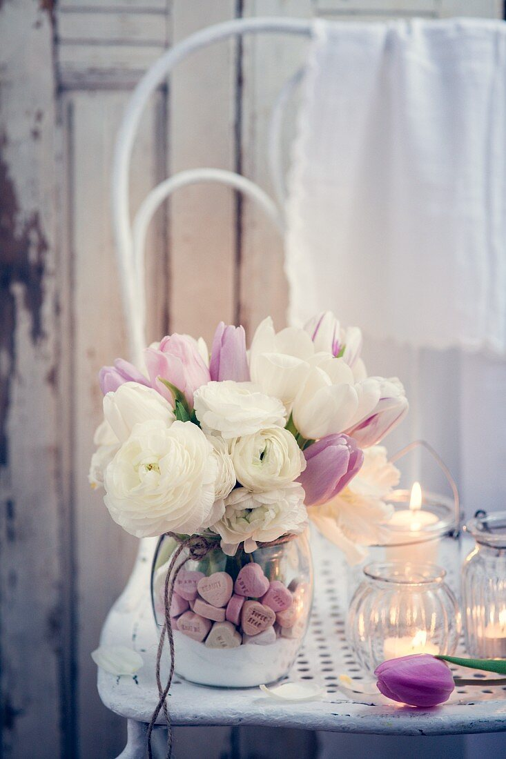 Roses, tulips and candles for Valentine's Day