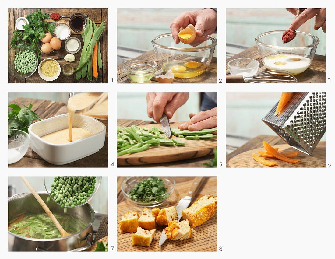 How to prepare soup with star-shaped mini pasta, custard royale and vegetables