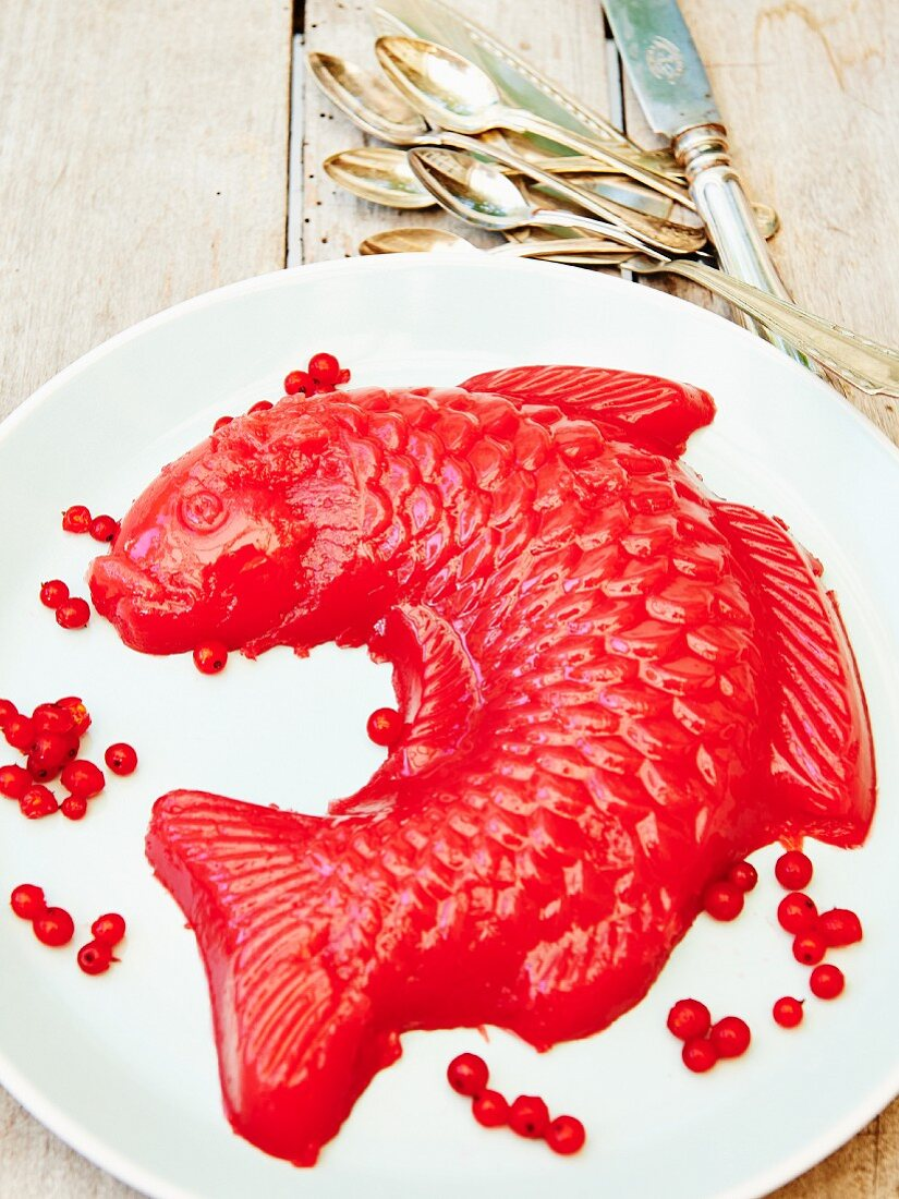A fish-shaped redcurrant jelly