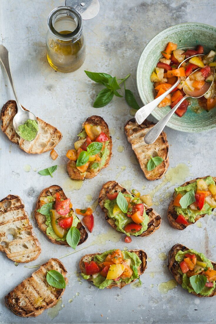 Bruschetta with avocado and colourful tomatoes