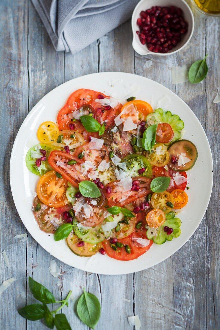 Multicolored tomato salad