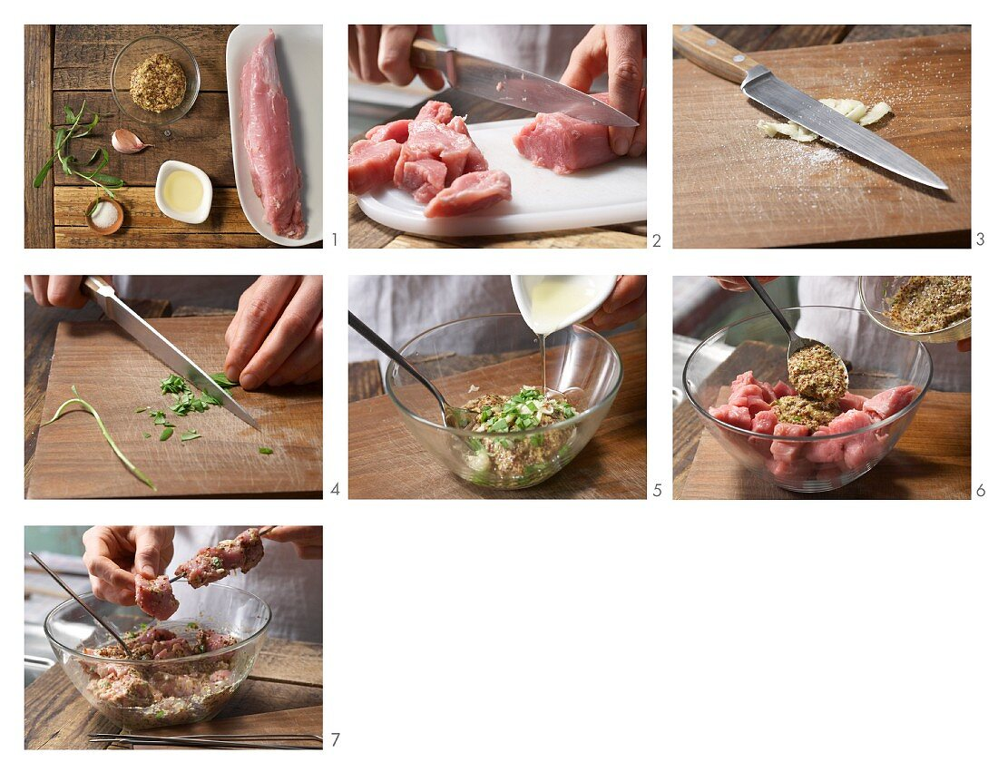How to prepare pork fillet kebabs with mustard and tarragon