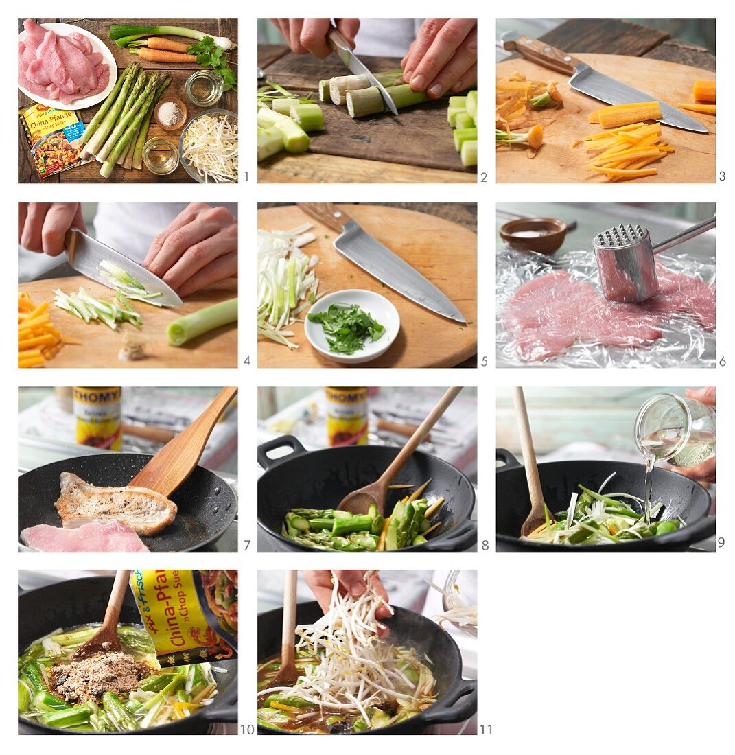 How to prepare turkey escalope with Asian asparagus and vegetables