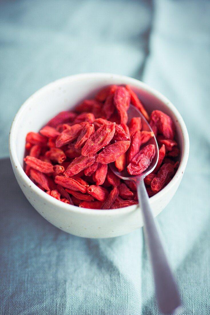Dried Goji Berries in a Blue Bowl