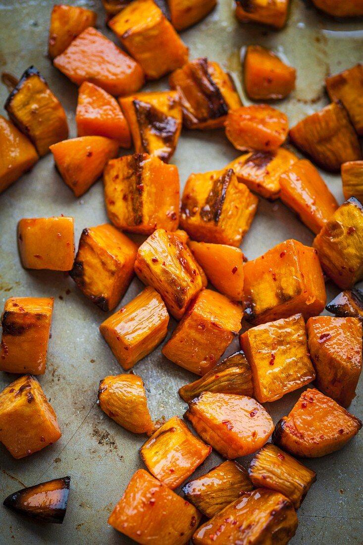 Oven roasted sweet potato cubes