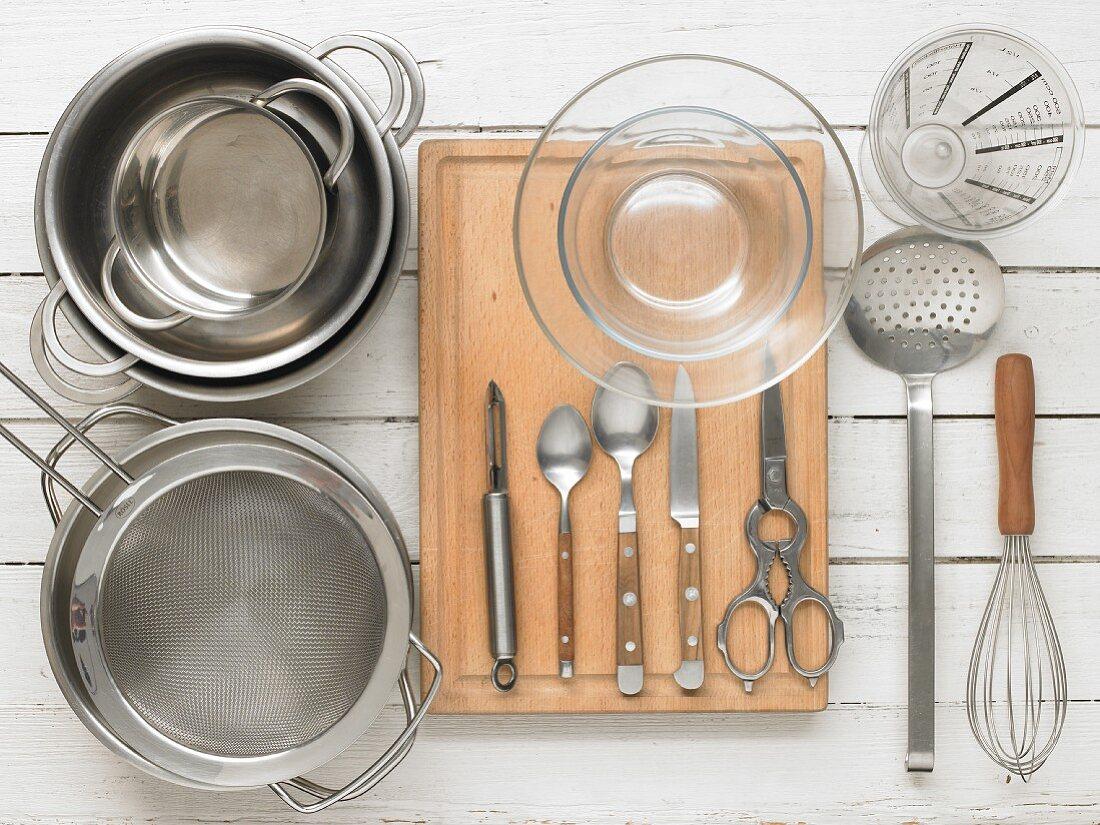 Kitchen utensils for preparing asparagus with egg vinaigrette