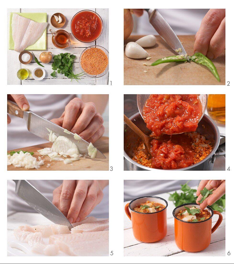 Tomaten-Linsensuppe mit Fischfilet und Chili zubereiten