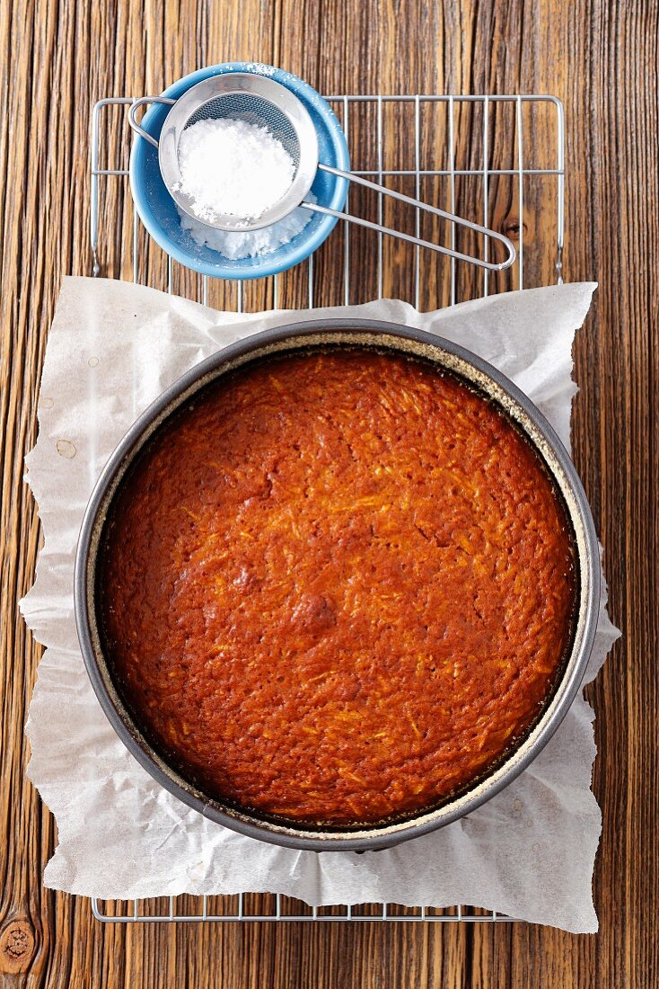 Carrot and sweet potato cake in a cake tin