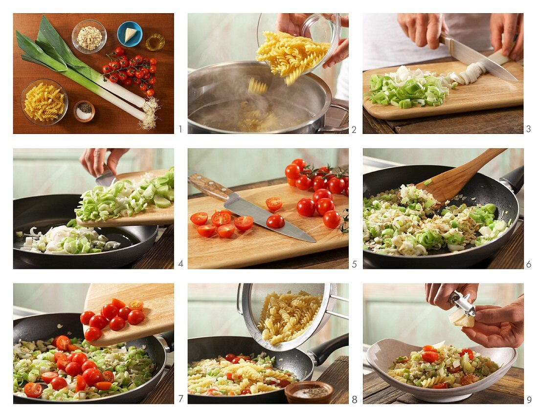 How to prepare spiral pasta with tomato, leek and nuts