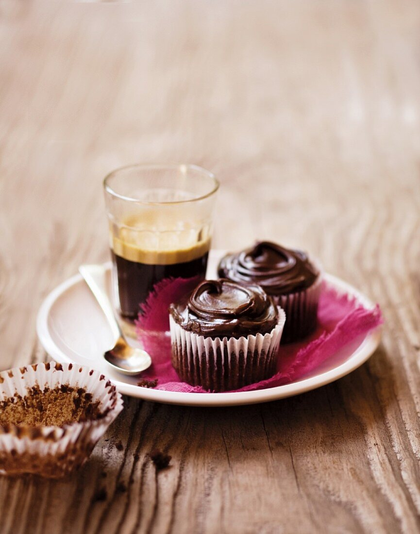 Chocolate & beetroot cupcakes served with coffee