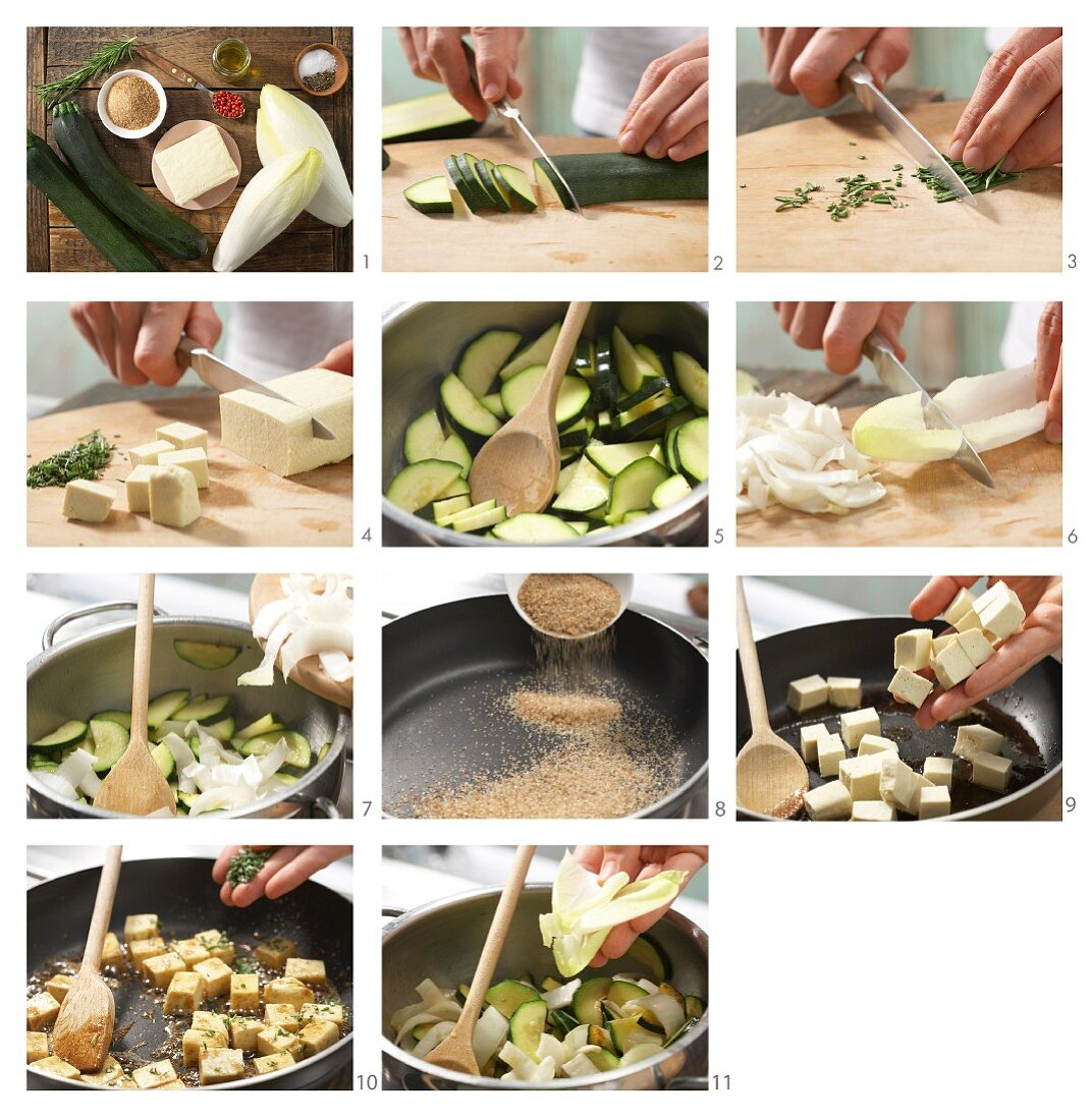 How to prepare caramelised tofu with chicory and courgette