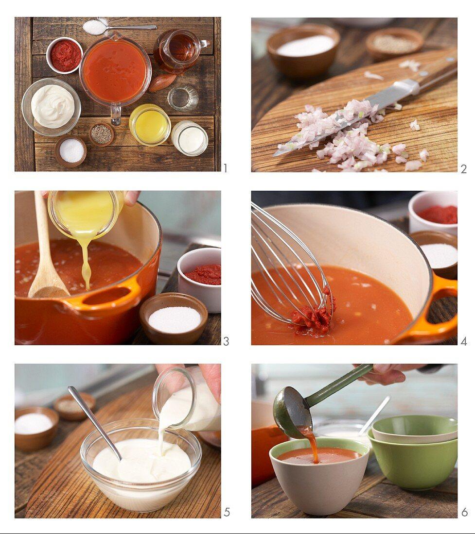 How to prepare orange and tomato soup with cream rosettes
