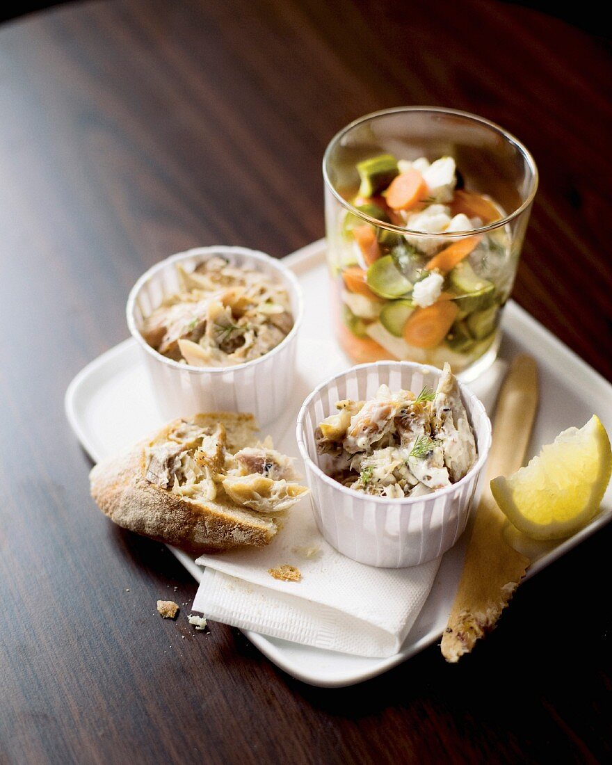 Smoked mackerel brandade with pickles