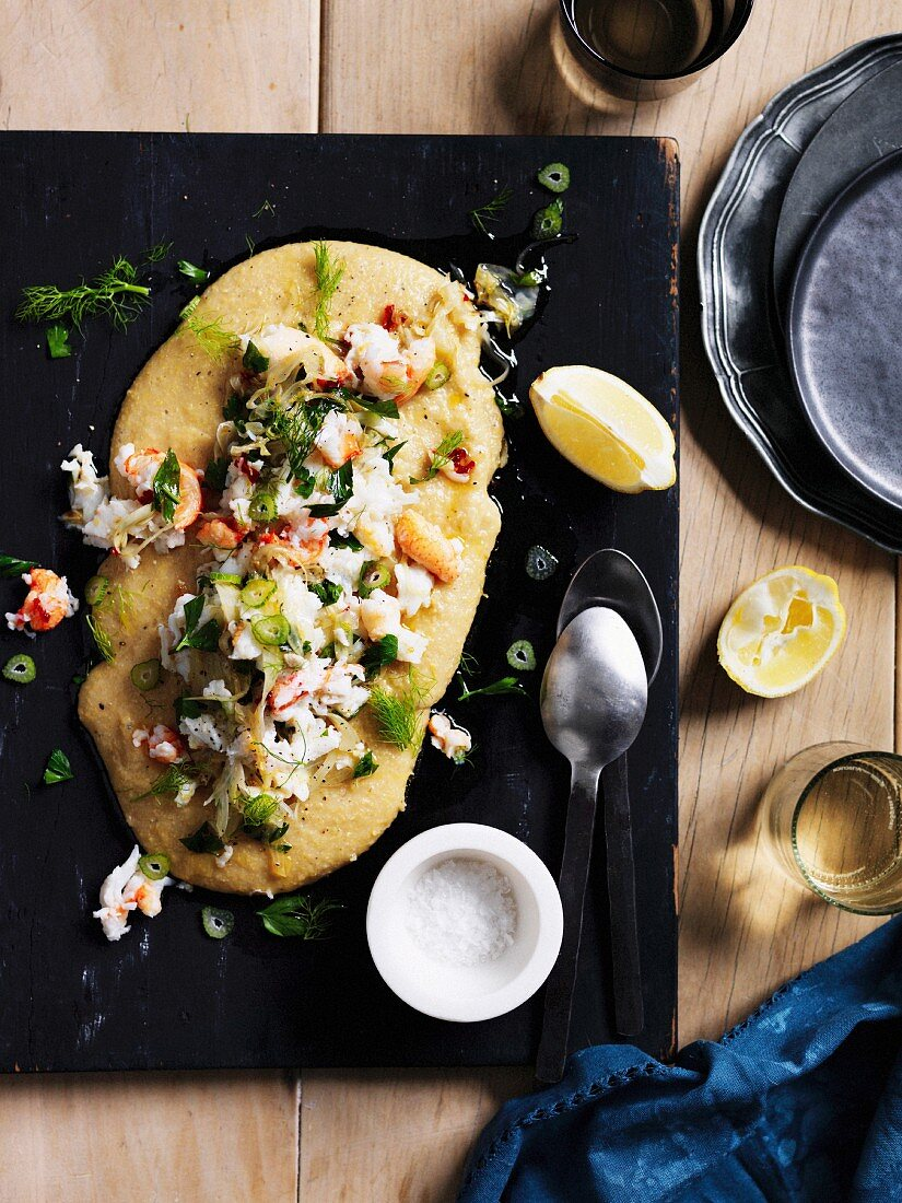 Creamy polenta with crab meat, chilli, lemon and fennel