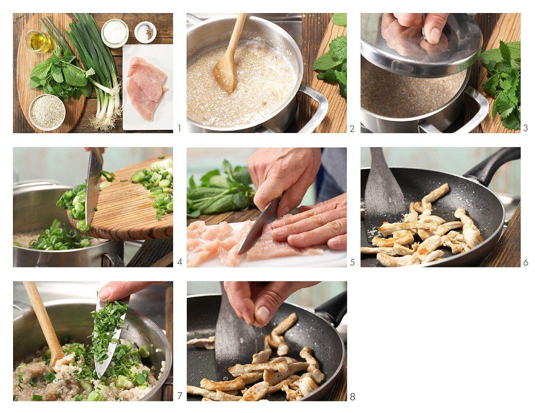 How to prepare buckwheat and herb porridge with turkey strips and yoghurt