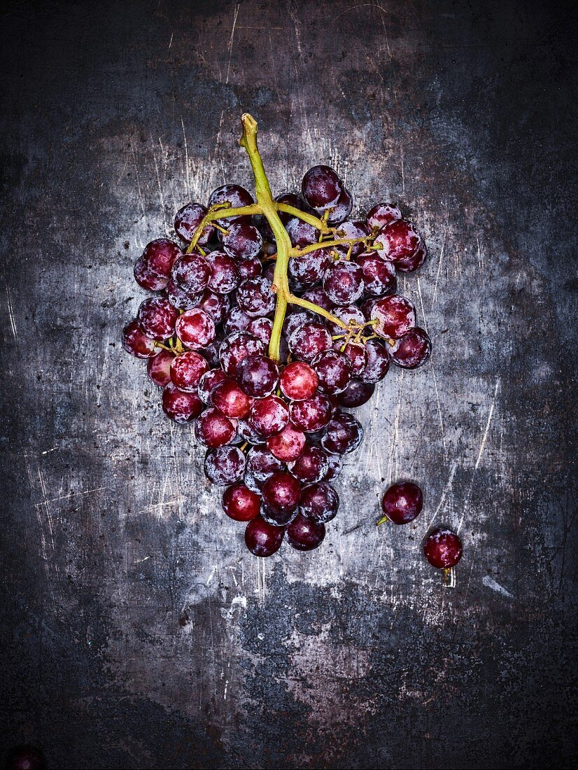 Red grapes on a grey background (seen from above)