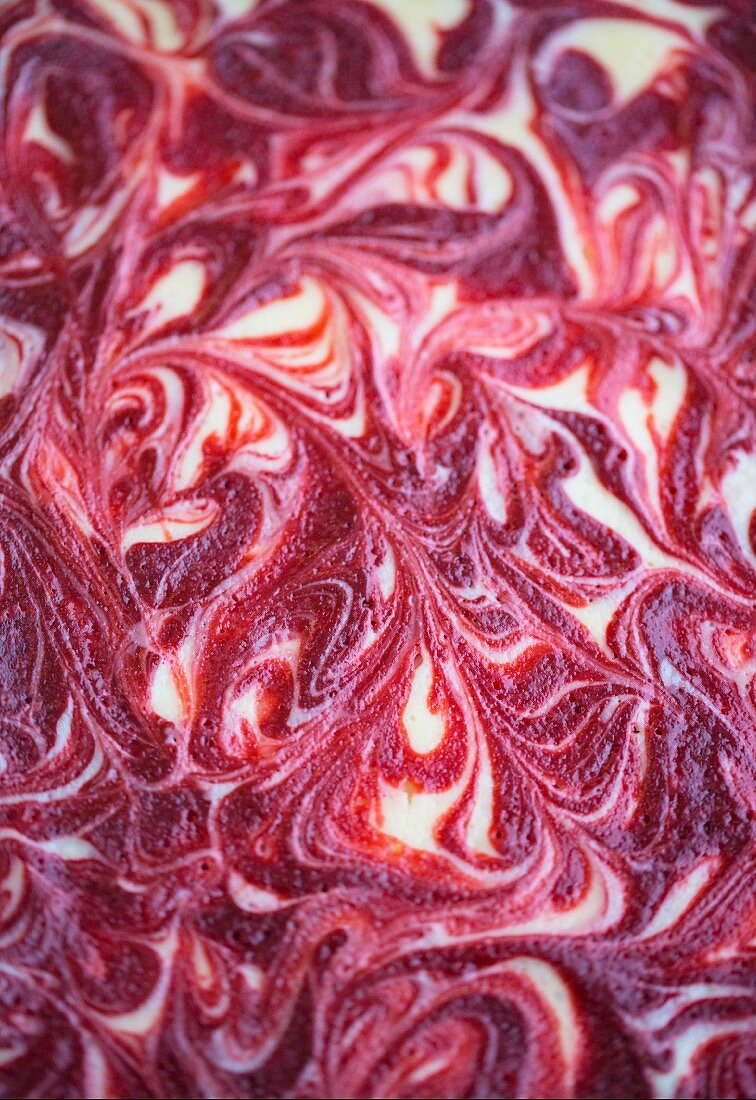 The surface of a marbled cheesecake (full-frame)