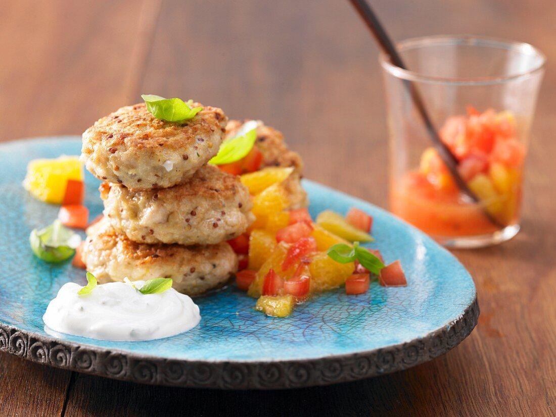 Fishcakes with orange and tomato salsa