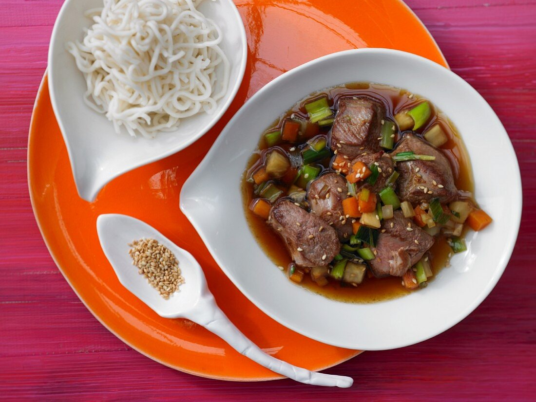 Asian duck ragout with vegetables and honey and oyster sauce