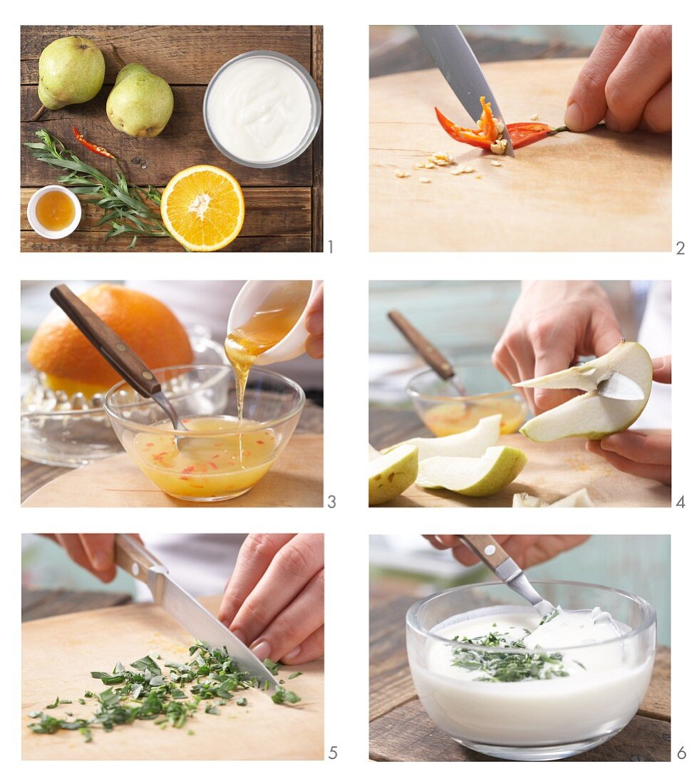 How to prepare chilli pears with tarragon yoghurt