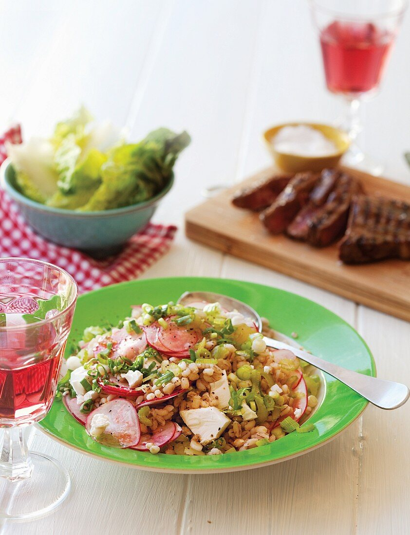 Pearl barley salad with vegetables and feta