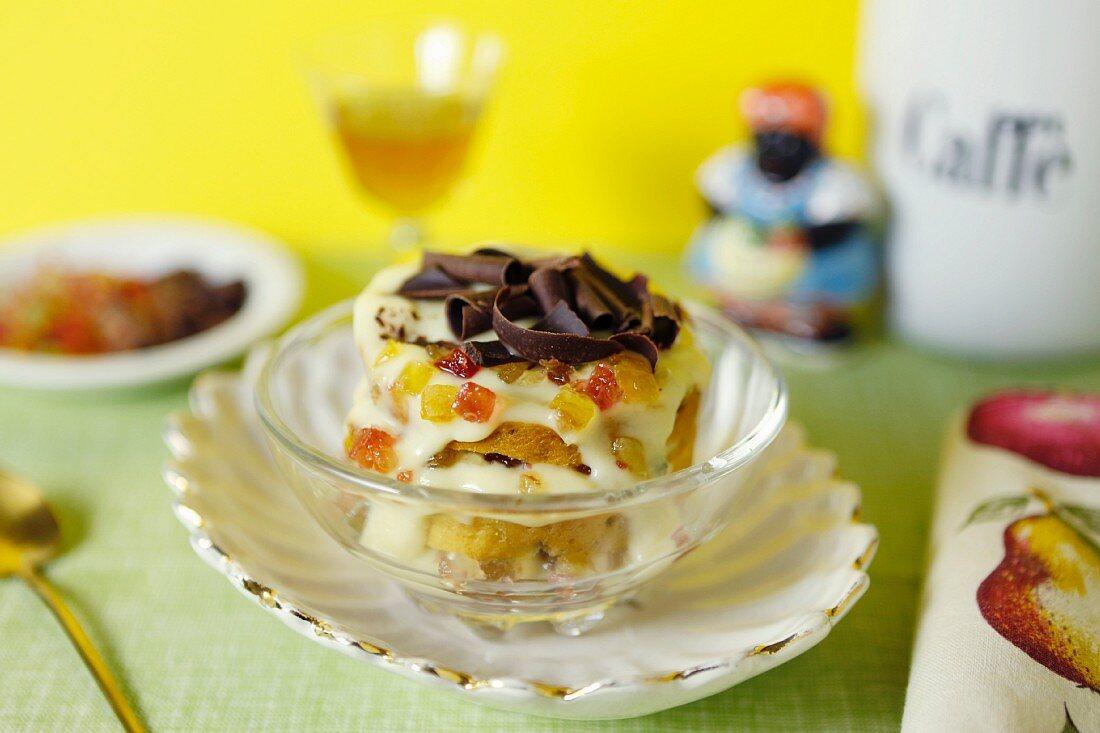 Zuppa inglese (an Italian layered dessert with brioche, chocolate, candied fruit and vanilla cream)
