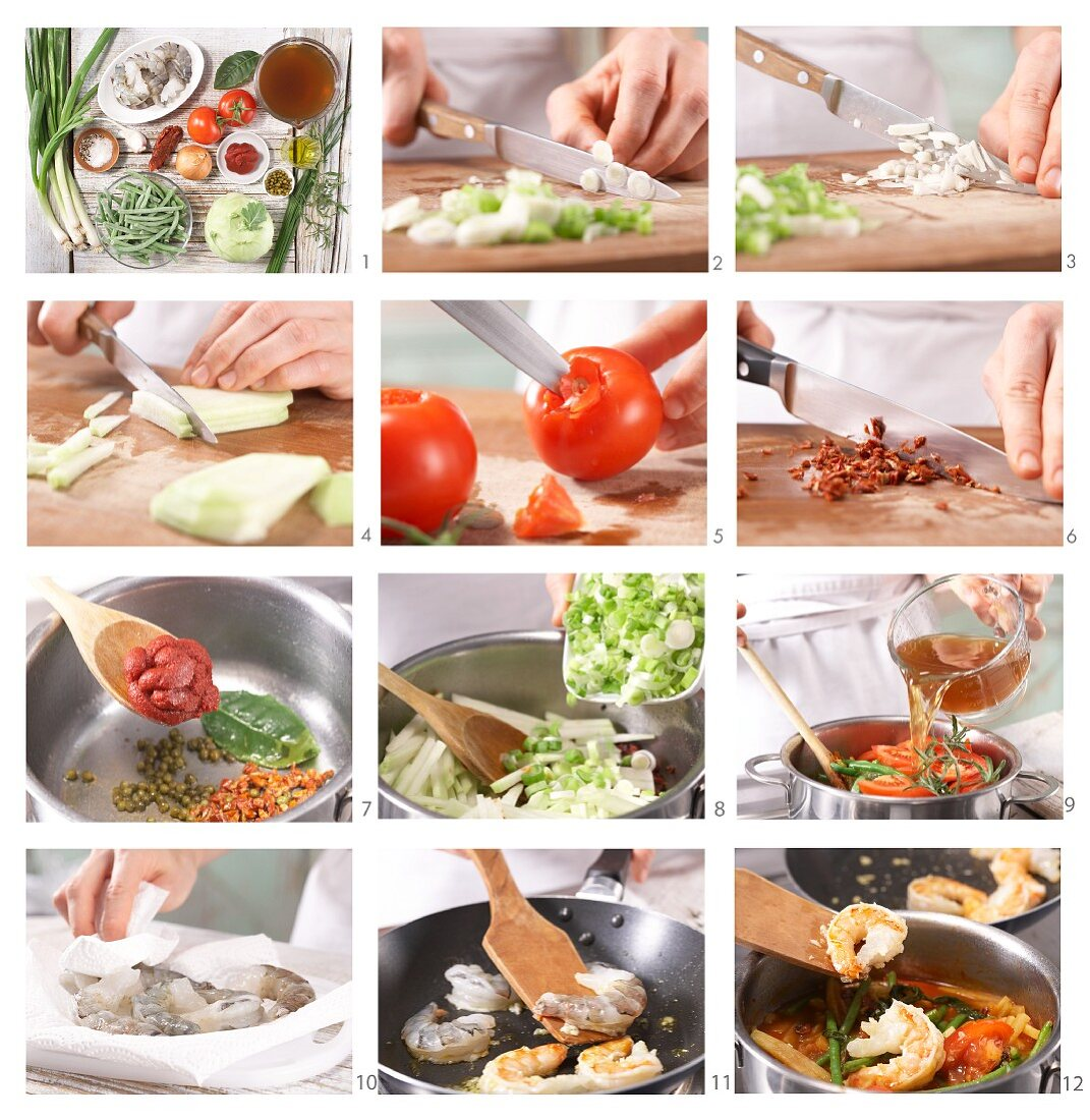 How to prepare prawn and vegetable stew with two different types of tomato