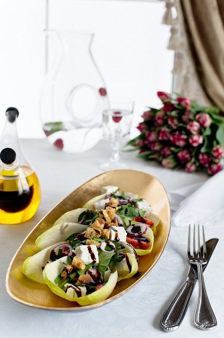 Chicory salad with feta and a balsamic glaze