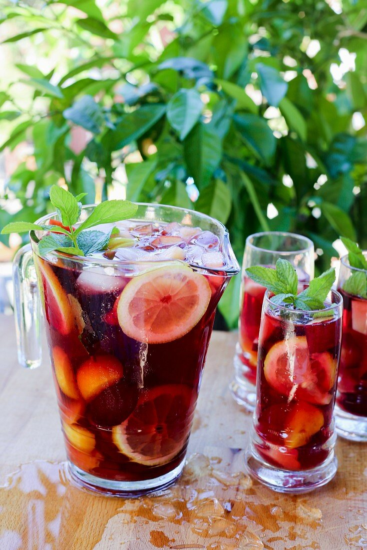 Sangria in a pitcher and in glasses
