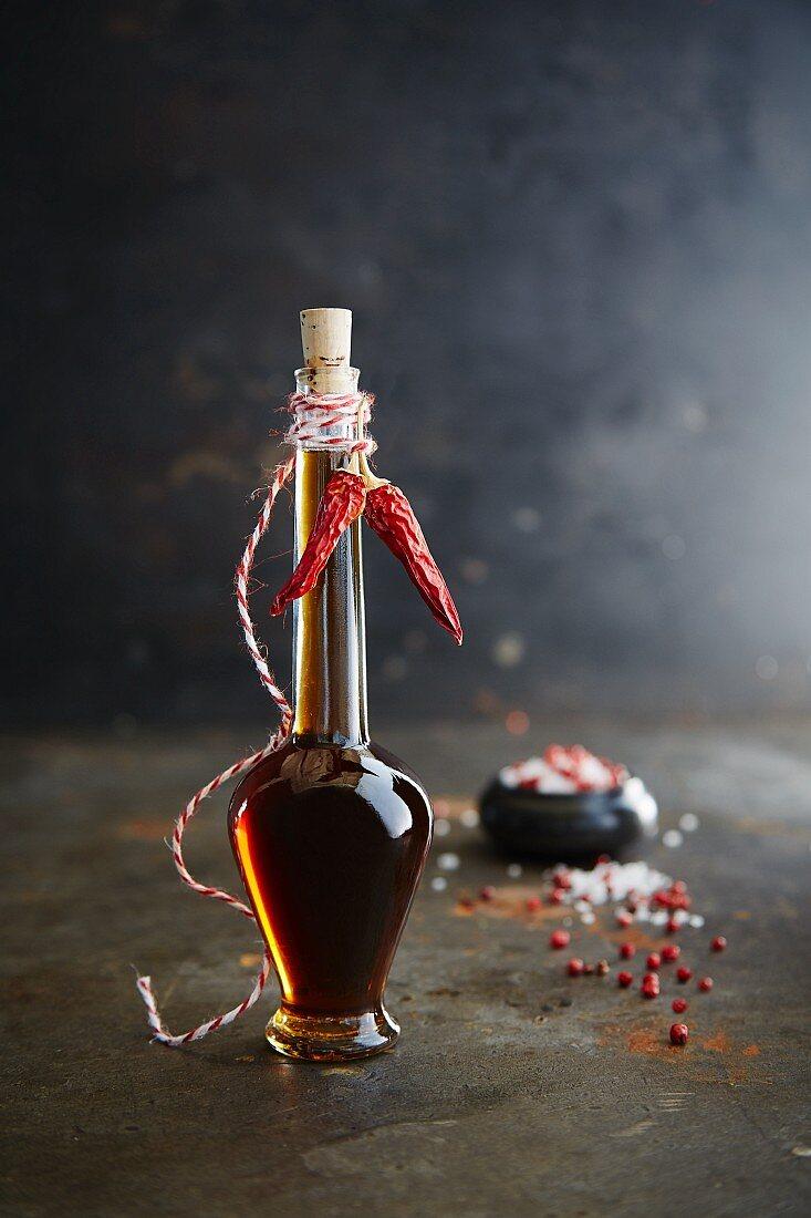 Chilli oil in a decorative glass bottle