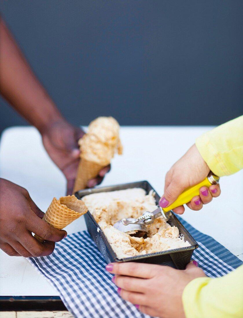 South African milk tart ice cream
