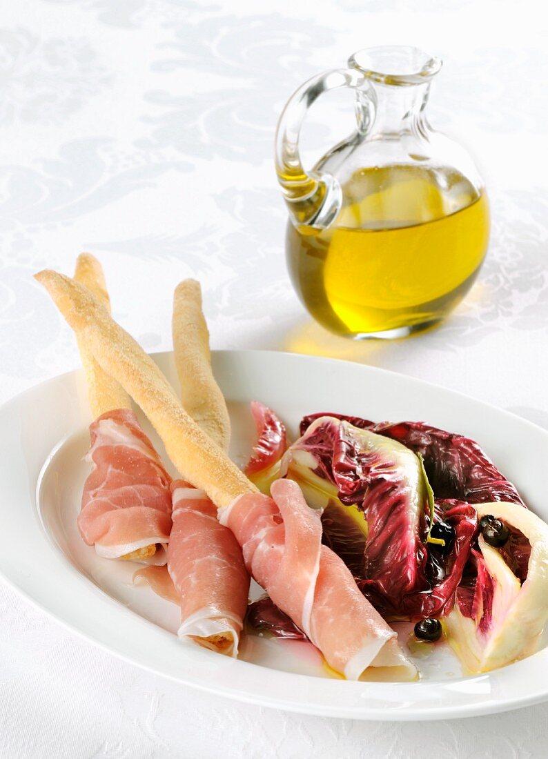 Prosciutto e radicchio (dry-cured ham with radicchio, Italy)