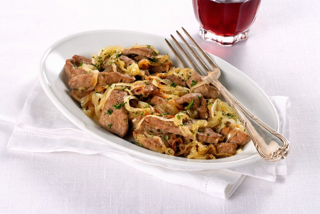 Fegato alla vicentina (liver with onions and white wine from Italy)