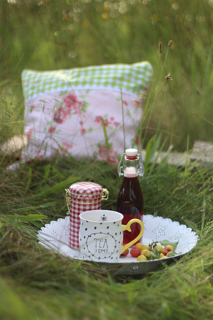 A picnic with tea and mirabelle plums