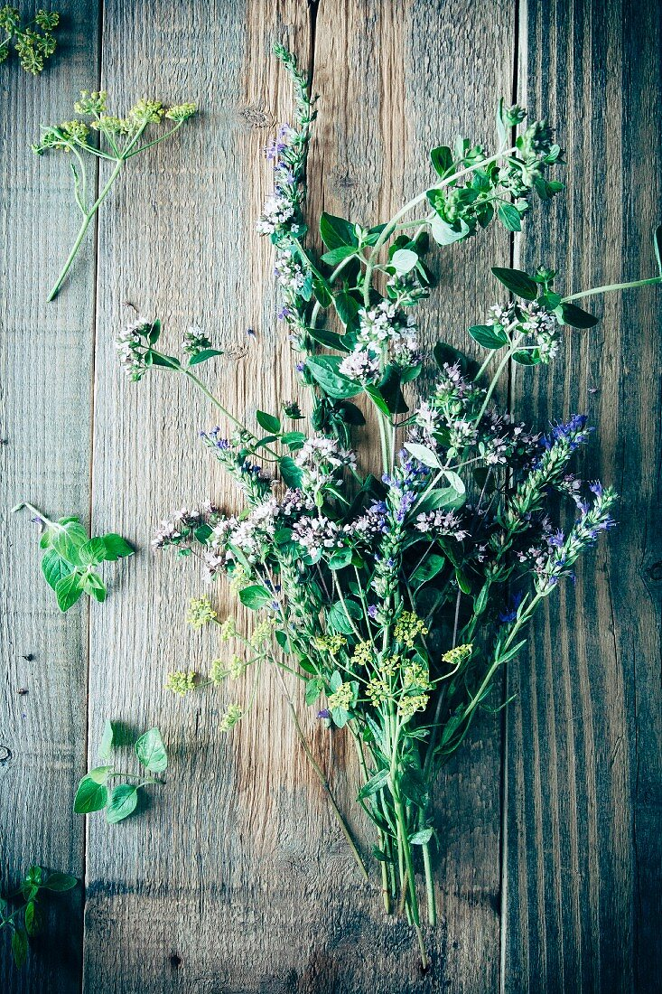 Herbs and flowers (oregano, yzop and fennel flowers) on a wooden surface