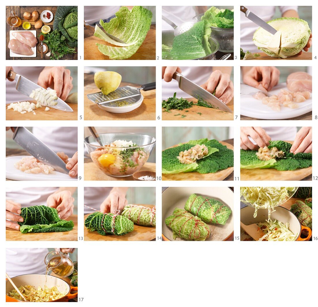How to prepare braised savoy cabbage roulades with a minced chicken filling