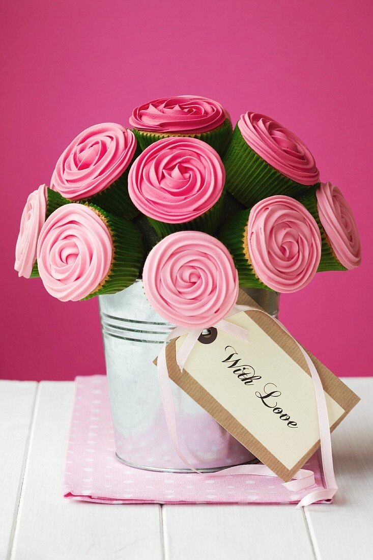 Bouquet of rose cupcakes with gift tag