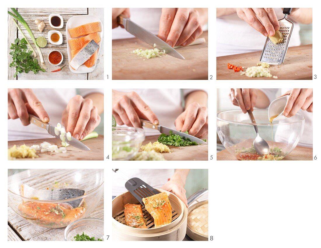 Gedämpftes Lachsfilet zubereiten