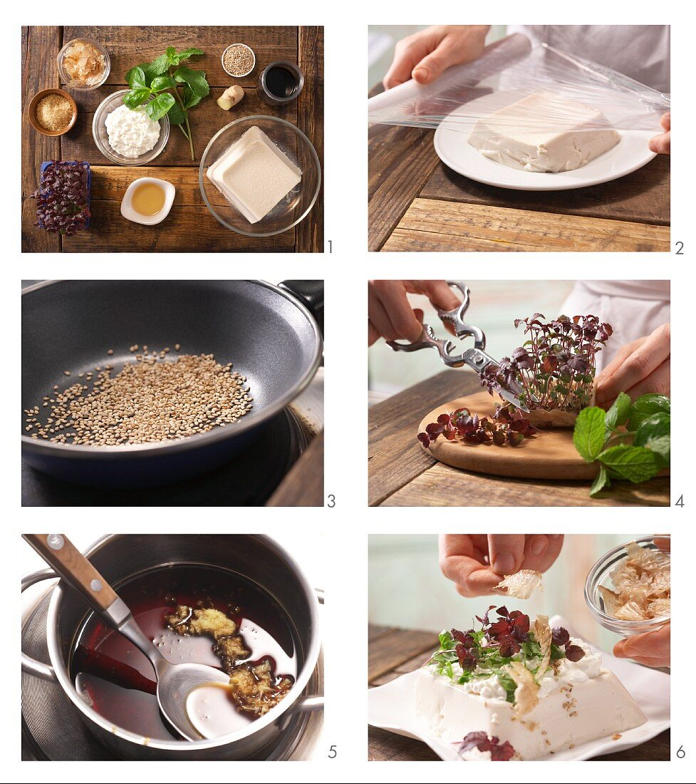 How to prepare silk tofu with cottage cheese, soy sauce and bonito flakes