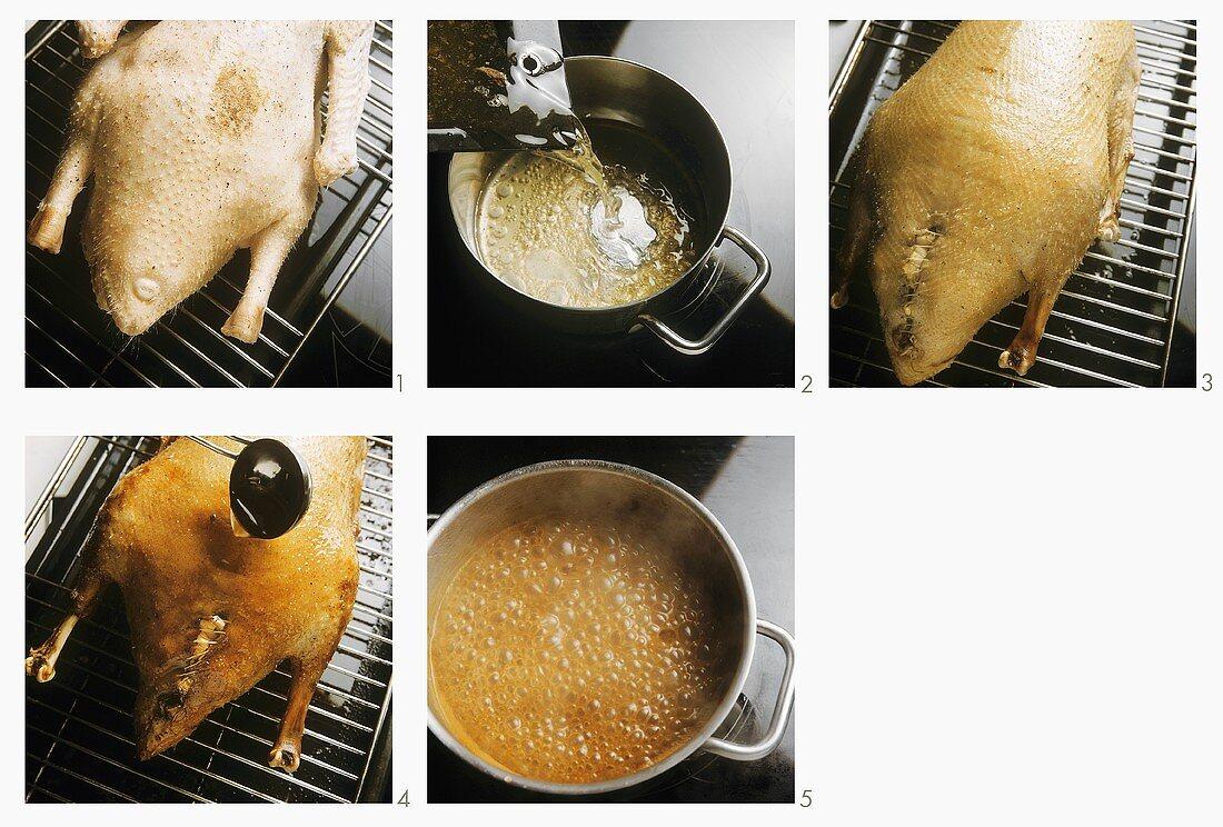 Preparing roast goose